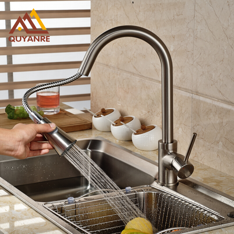 Pull Out Deck Mount Kitchen Faucet Two Functions Hot And cold Water Mixer Faucet