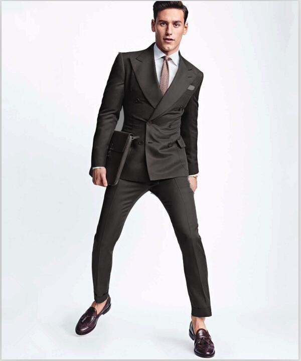 2017 Latest Coat Pant Designs Grey Double Breasted Men Suit Groom Blazer Slim Fit Custom 2 Piece Prom Tuxedo Terno Masculino