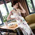 Chino de la vendimia de Largo Cheongsam de Las Mujeres de La Novedad Sexy Satén Qipao Flores Vestido Clásico Vestido Tamaño Sml XL XXL 216072