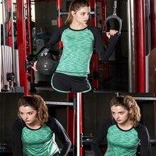 Для женщин быстрый сухой топы с длинными рукавами упражнения работает Йога Костюмы тренировки Фитнес тренажерный зал Спортивные футболки