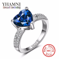 Luxury Blue Crystl Ring Pure Solid 925 Sterling Silver Ring Heart SONA CZ Engagement Wedding Jewelry Rings for Women AR030