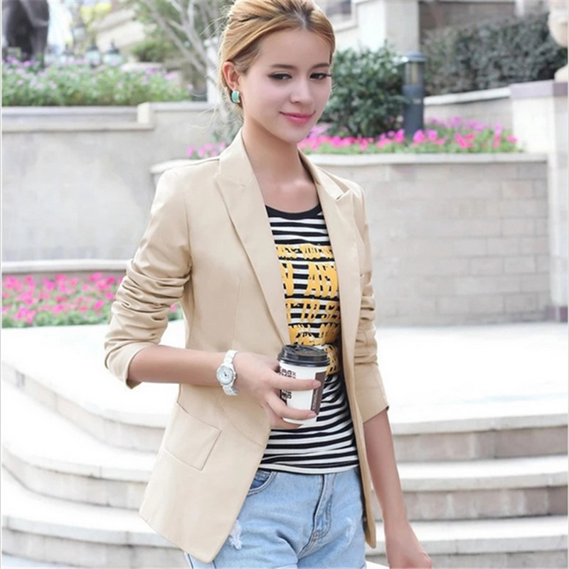 Casual Women Blazers 2017 Jackets Slim Blazer Feminino Women With One Button Womens Jack ...