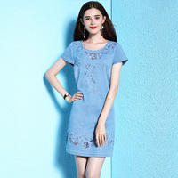 2018 Runway Party Beautiful Mini Dresses Jeans Big Sizes XXXXL Floral Embroidered Hollow Out Summer Jean Dress European Fashion
