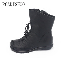 POADISFOO 2017 Winter Women Boots Square Heel Western PU Boots Knight Boots Round Toe Mid Calf