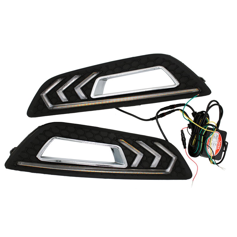LED Car DRL for Ford Focus 4th 2015 2016 2017 Daytime Running Lights with Turn Signal and Dimmed Style for 12V car headlights for ford focus 3 sedan hatchback 2015 2016 2017 led headlight kit head lights drl turning lights auto front lamps