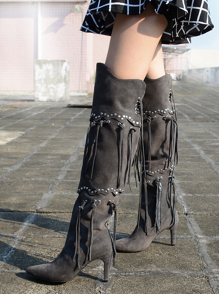 2018 Autumn/Winter Women Boots Genuine Leather Over-the-Knee Boots Rivet Tassel High Heels Shoes Woman Long Boots Botas Mujer купить в Москве 2019