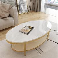 Легкий роскошный журнальный столик современный из нержавеющей стали мраморный Овальный креативный Простой гостиная мебель чайный стол на