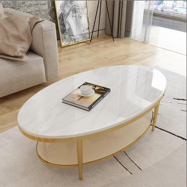 custom made living room furniture how to decorate my apartment light luxury coffee table modern stainless steel marble oval creative simple tea 100cm