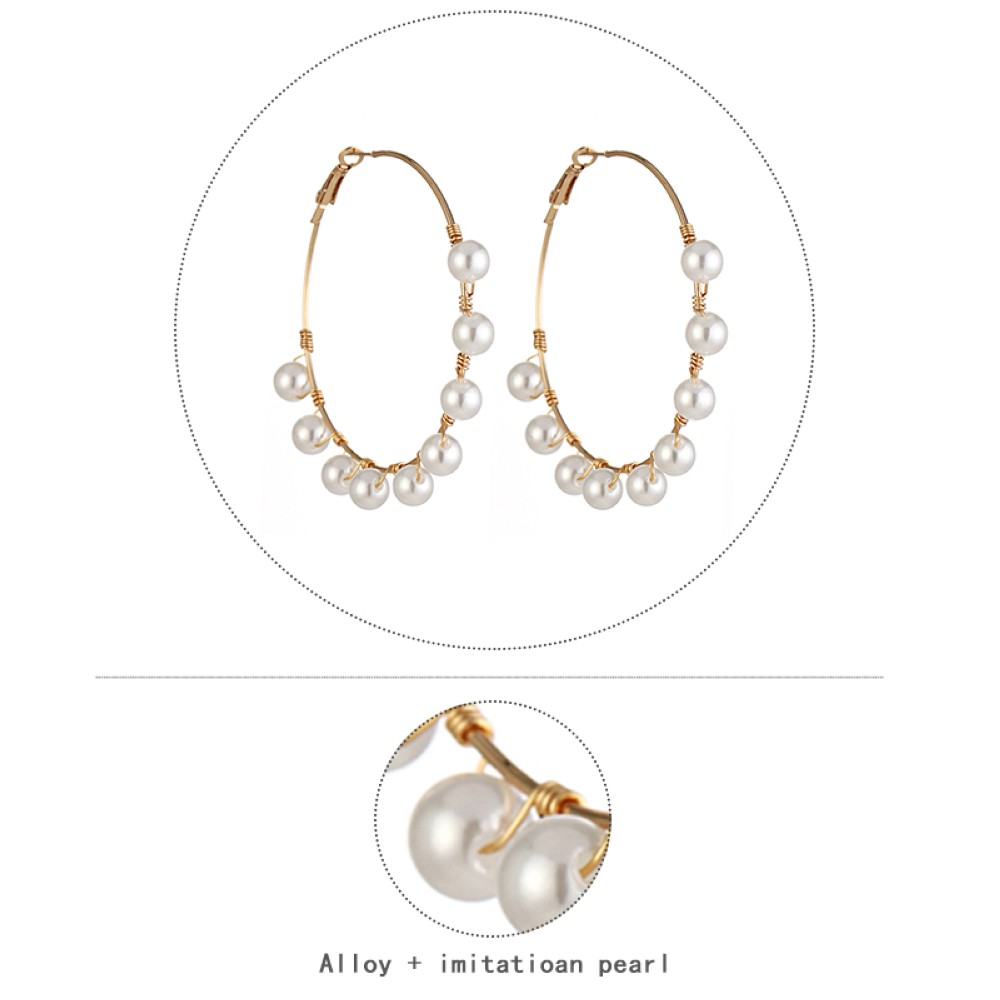 HTB1Cfq U5rpK1RjSZFhq6xSdXXa6 - New Boho White Imitation Pearl Round Circle Hoop Earrings Women Gold Color Big Earings Korean Jewelry Brincos Statement Earrings