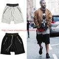 2016 new south Korean hip-hop fashion file zipper cut-off loose KANYE west  yeezy FEAR OF GOD Black, gray shorts M-XL