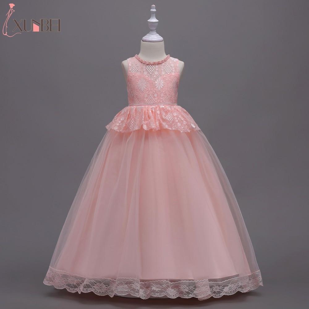 Lovely Floor Length Tulle Lace   Flower     Girl     Dresses   2019 Beaded Communion   Dresses   For   Girls   Kids Prom   Dresses   vestido daminha