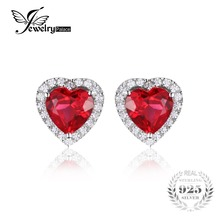 JewelryPalace Heart 4ct Pigeon Blood Red Ruby Stud Earrings Solid 925 Sterling Silver Jewelry For Women Fashion Wedding Earrings