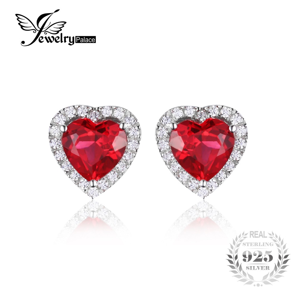 Jewelrypalace Heart 4ct Pigeon Blood Red Ruby Stud Earrings Solid 925  Sterling Silver Jewelry For Women