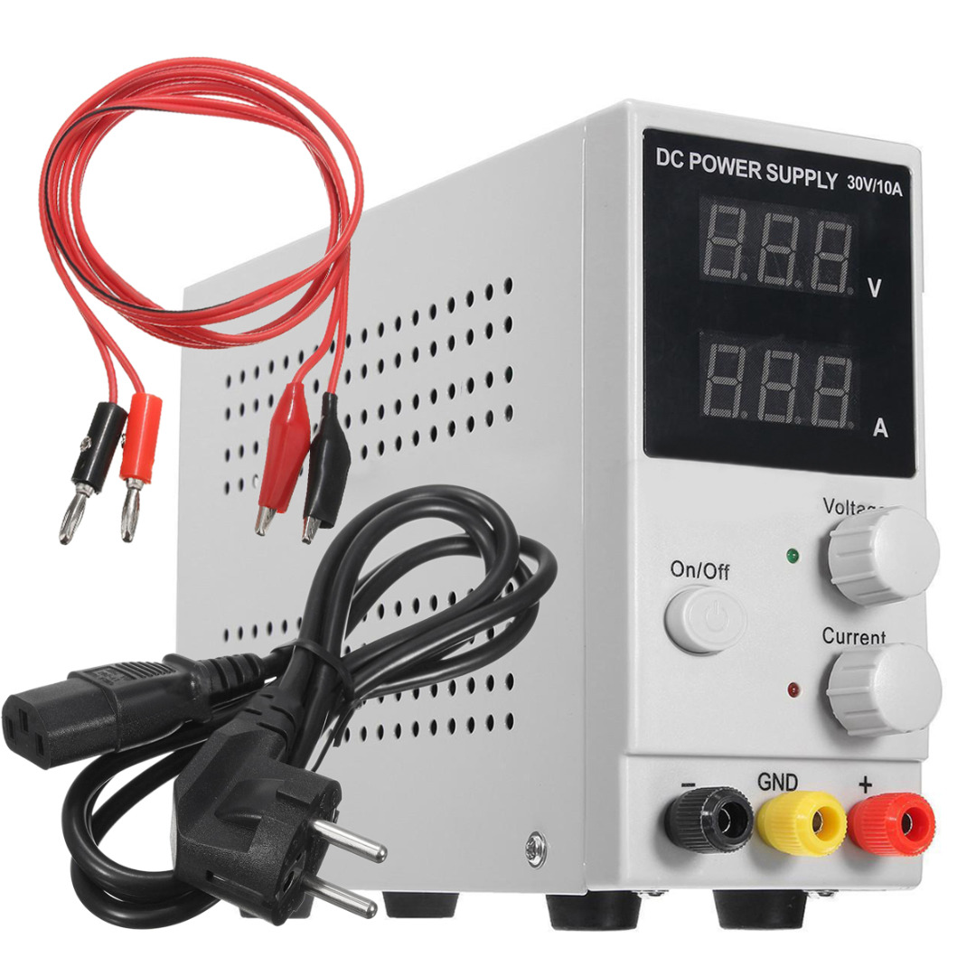 Mayitr DC Power Supply Adjustable Switching Regulated LCD Dual Digital Display 30V 10A with Power Line diy kit dc dc adjustable step down regulated power supply module belt voltmeter ammeter dual display