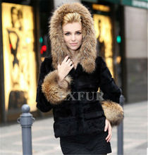 Classic Womens Real Sheared Rabbit Fur Coat with Raccoon Fur Hoody Lady Winter Warm Hooded Black Jackets Outerwear LX00059