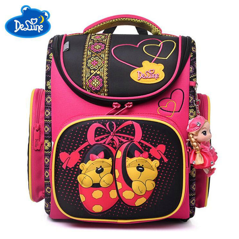 High Quality Delune Cartoon School Bags Children Orthopedic Student School Backpacks for Boys Girls Primary School Bag 1-3 Grade