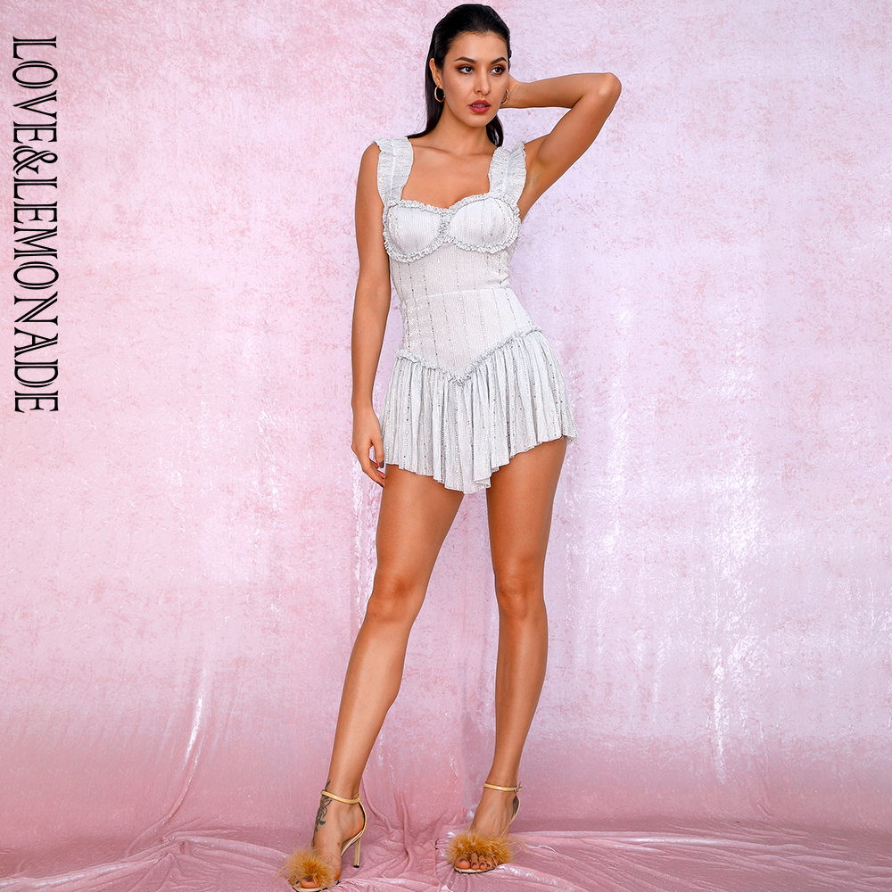 LOVE LEMONADE Silver Tube Top Sling Compound Sequin Material Slinky Ruffled Party Playsuit LM81256A