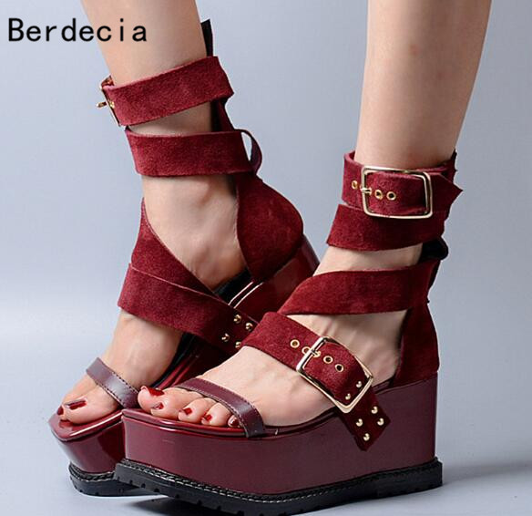 High Platform Red Black Suede Leather Sexy Open Toe Gladiator Sandals Ankle Strap Buckle Wedges For Women Summer Luxury Sandals