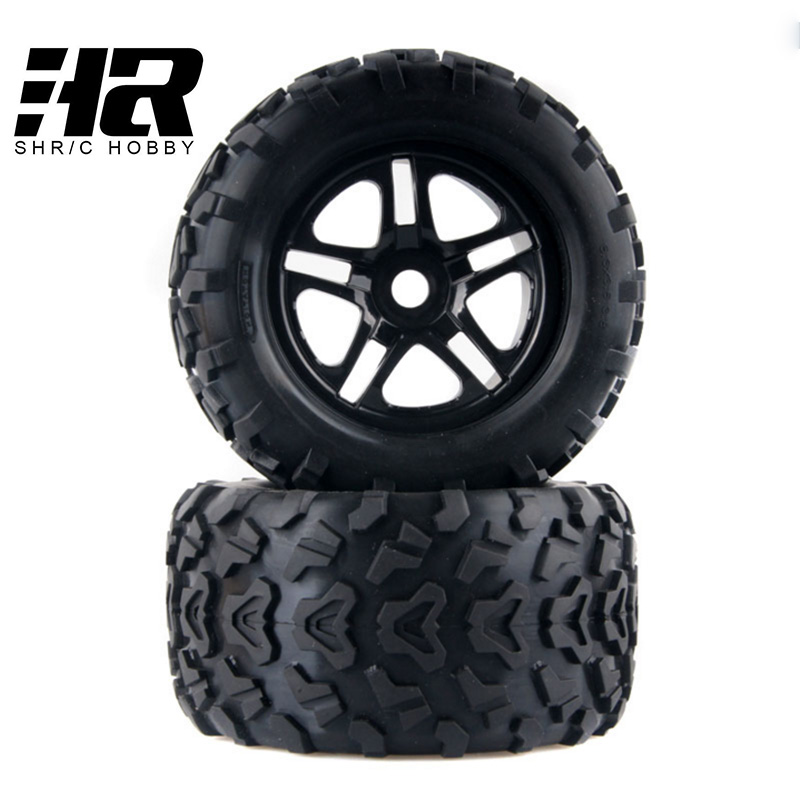 2Pcs RC 1/8HSP 160*85mm Hexagon adapter 17mm Wheel Rim and Rubber Tires For Cars Nitro Power Off Road Monster Truck AMAX HIMOTO 4pcs rc crawler truck 1 9 inch rubber tires