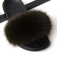 Plus size Fur Slippers Women Real Fox Fur Slides Home Furry Flat Sandals Female Cute Fluffy House Shoes Woman Brand Luxury 2019