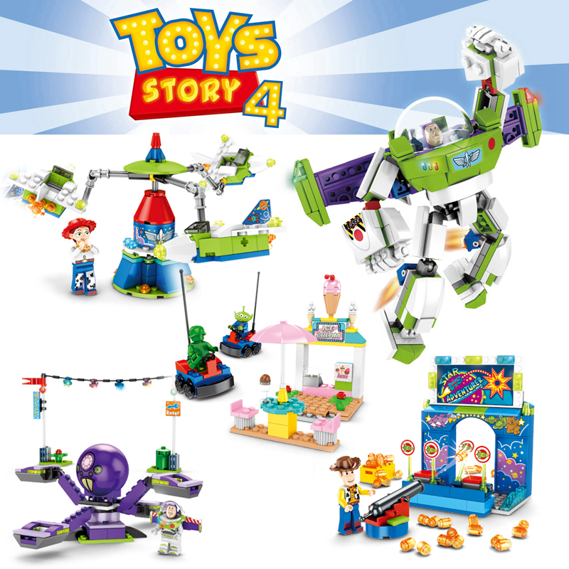 Toy Story 4 Figure Toys Buzz Lightyear Woody's Carnival Mania Block Sets Buzz Lightyear Figure Kids Toys Gifts Christmas Gift