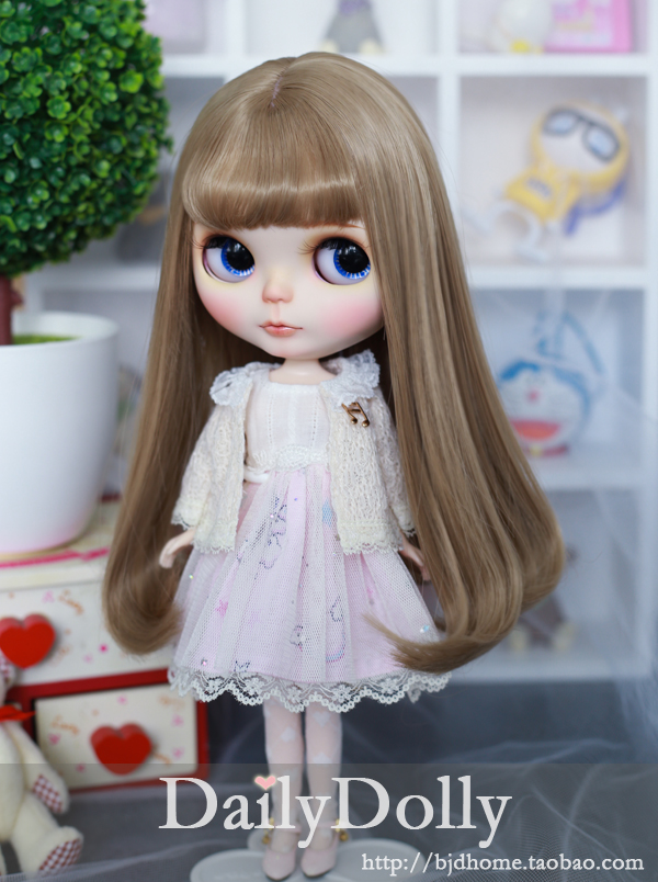 Blythe BJD wig long wig Curly High-Temperature Wire for blythe dollfie smoke powder double horsetail 100 cm high temperature wire cos wig gasai yuno