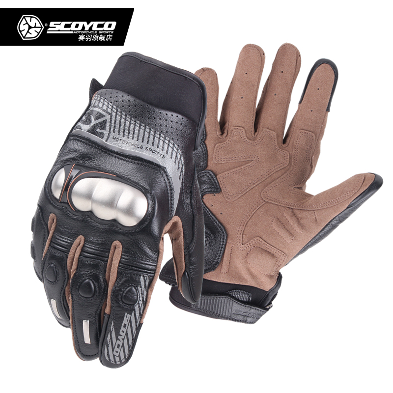 Scoyco MC60 Motorcycle Leather Gloves Perforate Carbon Fibre Protection Motocross Guantes Moto Cycling Gear Summer for Men Women цены онлайн