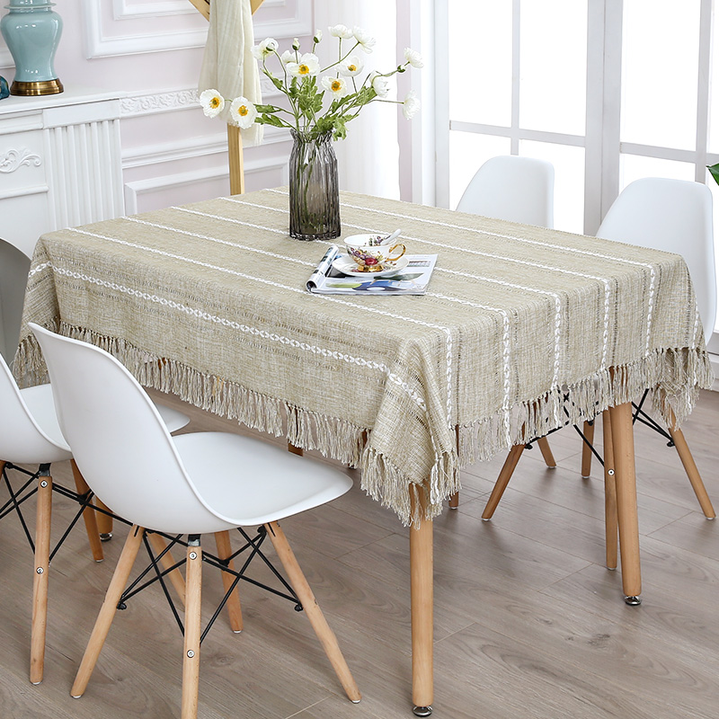 Decorative Table Cloth Linen Tassel Tablecloth Rectangular Dining Table Cover Coffee Bar Table Cloth Obrus Tafelkleed mesa nappe in Tablecloths from Home Garden