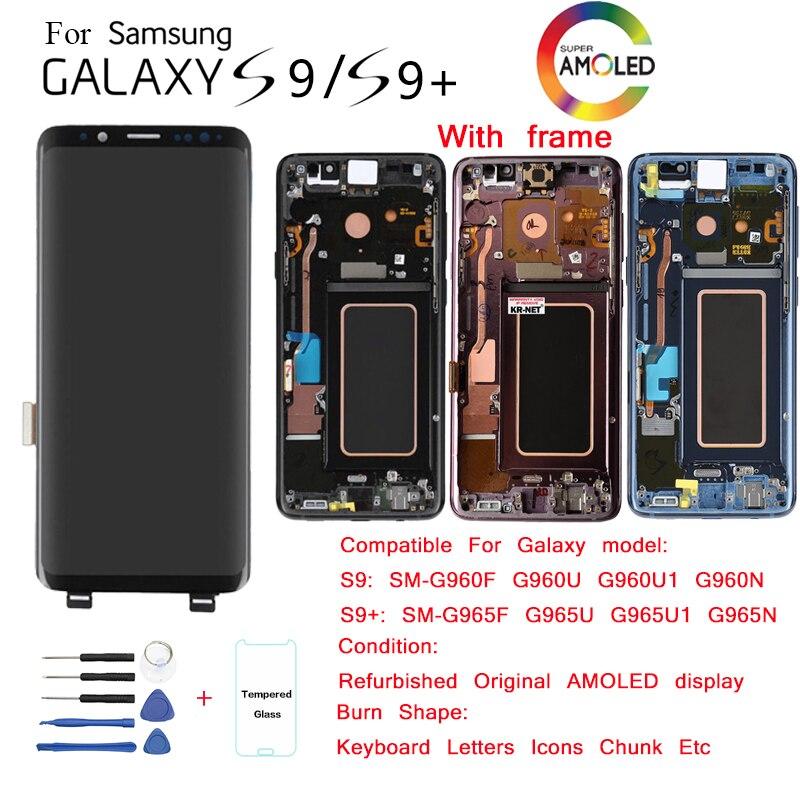 Para samsung galaxy s9 g960 s9 + g965 display lcd substituição da tela para samsung SM-G960F g965f módulo de exibição lcd queimar-na sombra