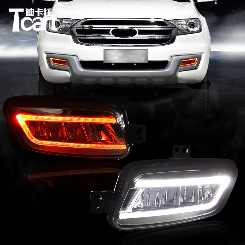Tcart 1Set Car LED DRL Daytime Running Light Auto LED Fog Lamp With Yellow Turning Signals Waterproof For Ford Everest 2016 2017 tcart 2x 9005 hb3 9006 hb4 dual color car led headlight white yellow headlamp bulbs fog lamps for plips chip 36w auto led light