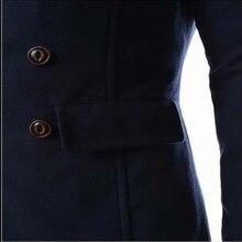 Men Double Breasted Overcoat Winter Long Trench Coat