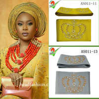AS011Unique Aso Oke With Stones Headtie One Piece Per Pack African Gele Wrapper Scarf 8 6meters