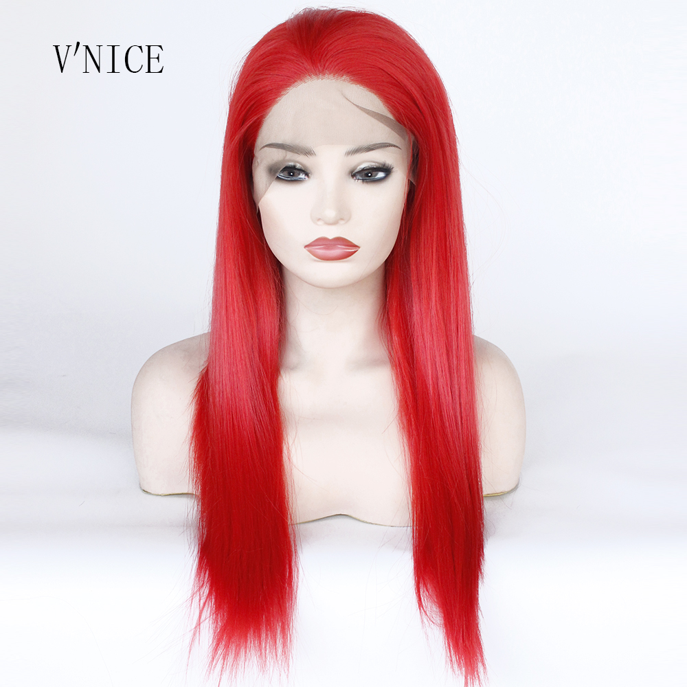 High Temperature Fiber Hair Red Color Straight Cosplay Wig Middle Part Medium Length Synthetic Lace Front