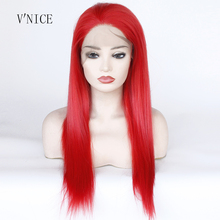 High Temperature Fiber Hair Red Color Straight Cosplay Wig Middle Part Medium Length Synthetic Lace Front Party wigs for Women
