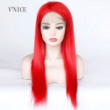 Yüksek Sıcaklık Fiber Saç Kırmızı Renk Düz Cosplay Peruk Orta Kısmı Orta Uzunlukta Sentetik Dantel Ön Parti peruk Kadınlar için