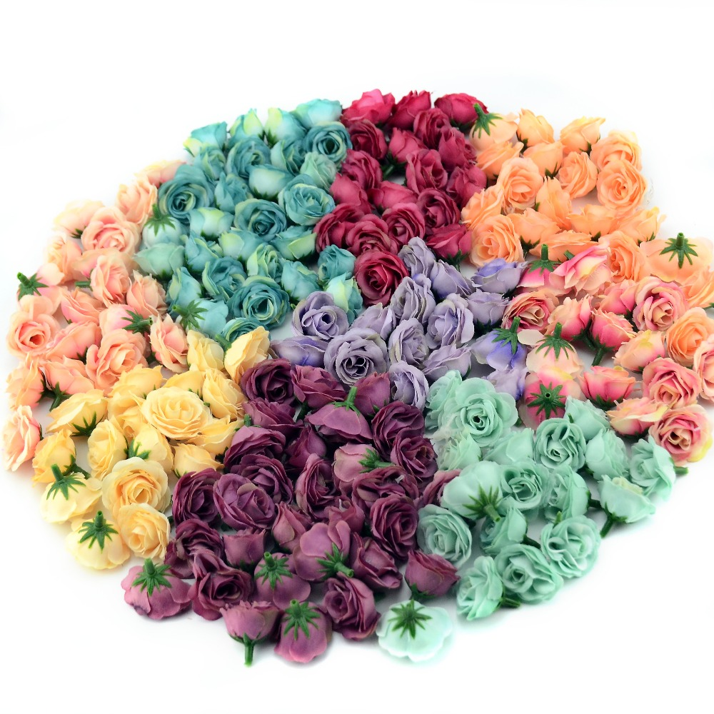 10/50/100pcs 2.5cm Mini Silk Artificial Rose Flower Heads For Wedding Party Home Decoration DIY Accessories Fake Flowers Craft