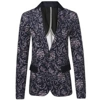 Men Printed Blazer Jacket 2015 Fashion Brand Floral Pattern Slim Fit Long Sleeve Blazer Spring Autumn