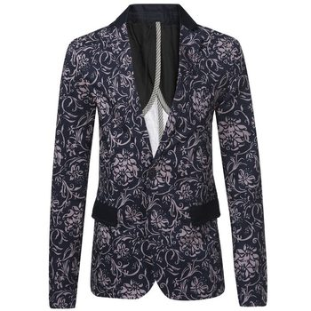 Men Printed Blazers 2016 Fashion Brand Floral Pattern Slim Fit Long Sleeve Blazer Spring Autumn Casual Floral Blazers Z2009