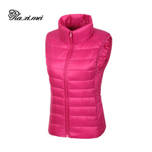 Kaximei 100% White Duck Down Vest Women 2017 New Arrival Slim Sexy Short Jackets Outwear Coats Plus Size 3XL Vest001