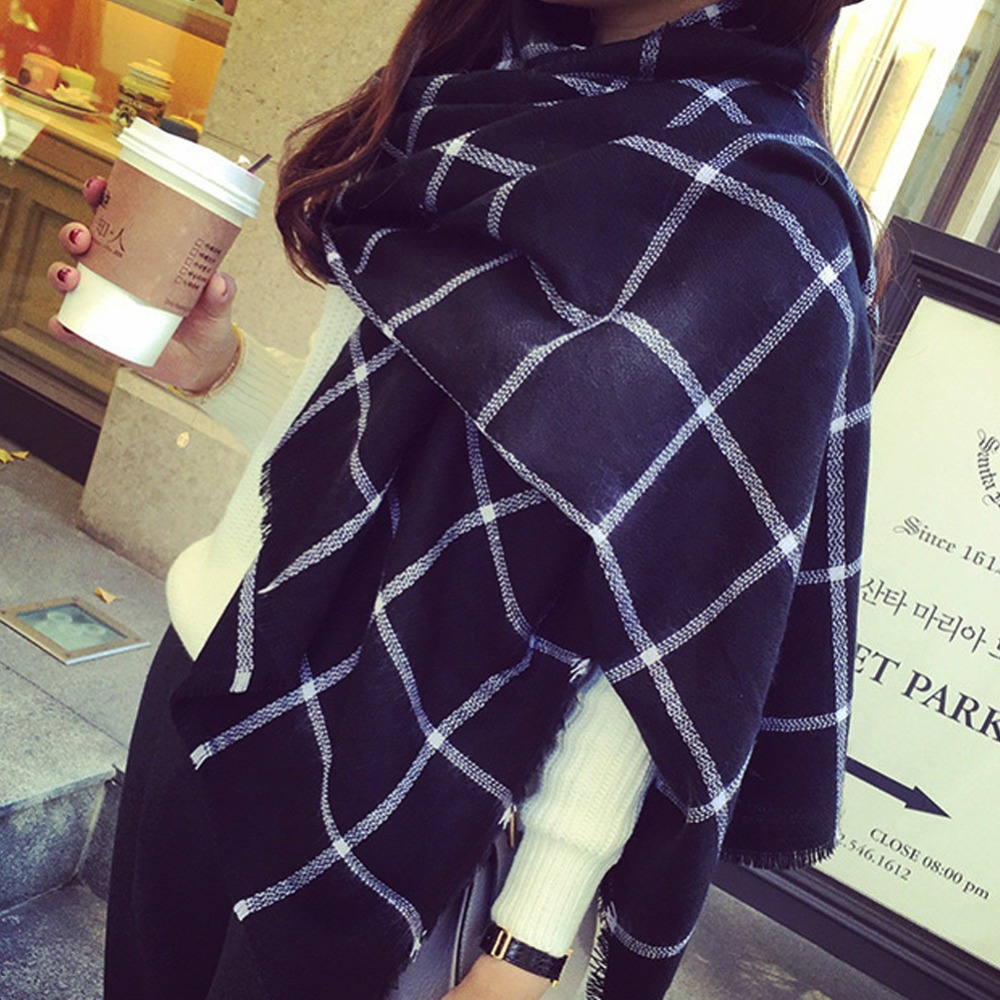 U119 New Lady Women black white Plaid Cozy Checked font b Tartan b font Scarves Wraps