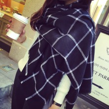 U119 New Lady Women black white Plaid Cozy Checked Tartan Scarves Wraps shawl