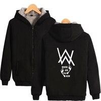 Alan Walker Hoodies Thick Zipper Sweatshirts Winter Fleece Thick Jacket Coat Winter New Arrival Print Warm