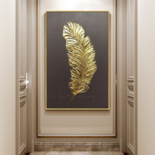 Gold Feather Art Painting on Canvas Acrylic Wall Modern Picture Hand Painted Home Quadros Caudros Decoracion for Living Room