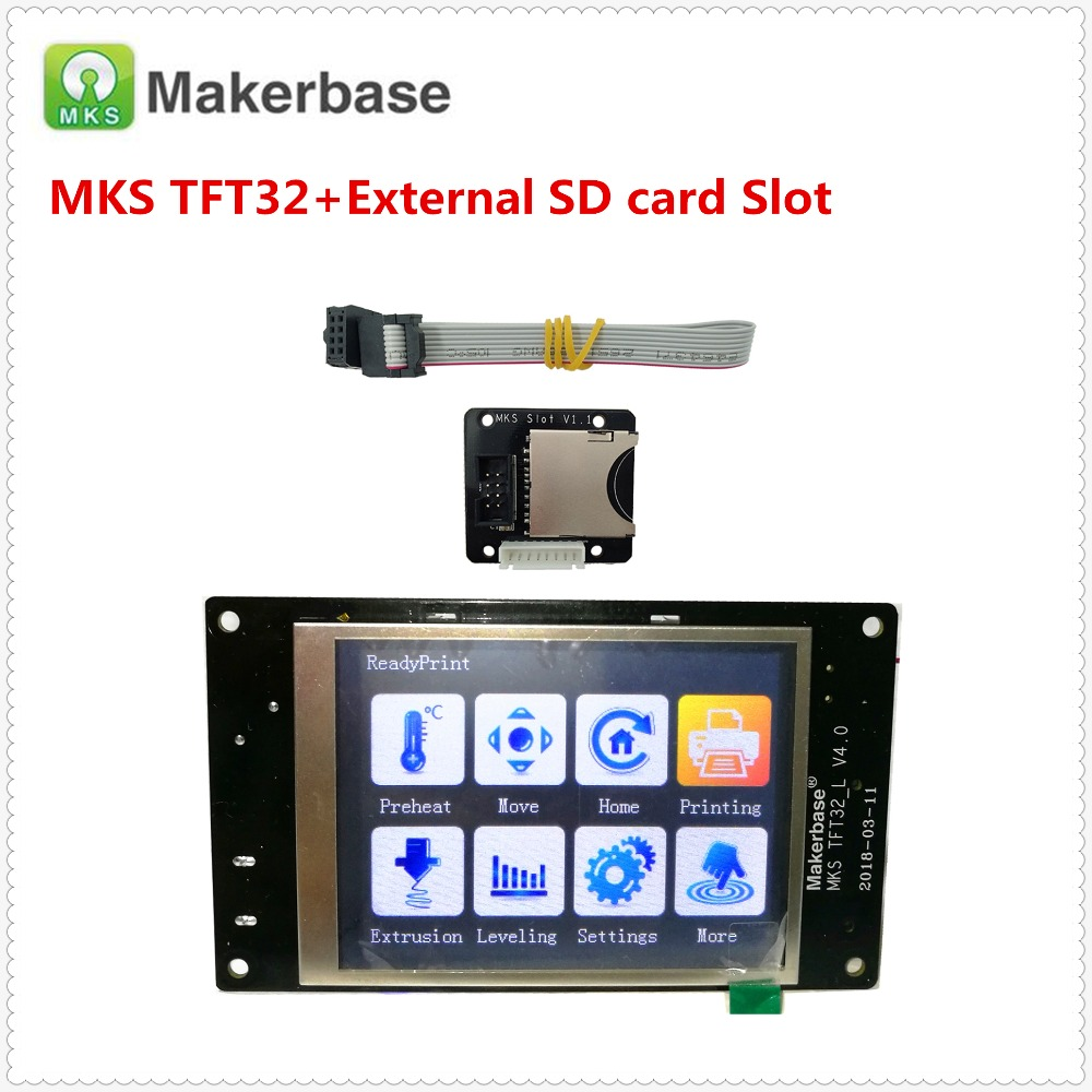 MKS TFT32 v4.0 touch screen + MKS Slot SD card expansion module splash lcds TFT 32 touching TFT3.2 display RepRap TFT monitor mks tft32 v4 0 touch screen splash lcds smart controller touching tft 32 display reprap tft monitor creen lcd for 3d printer