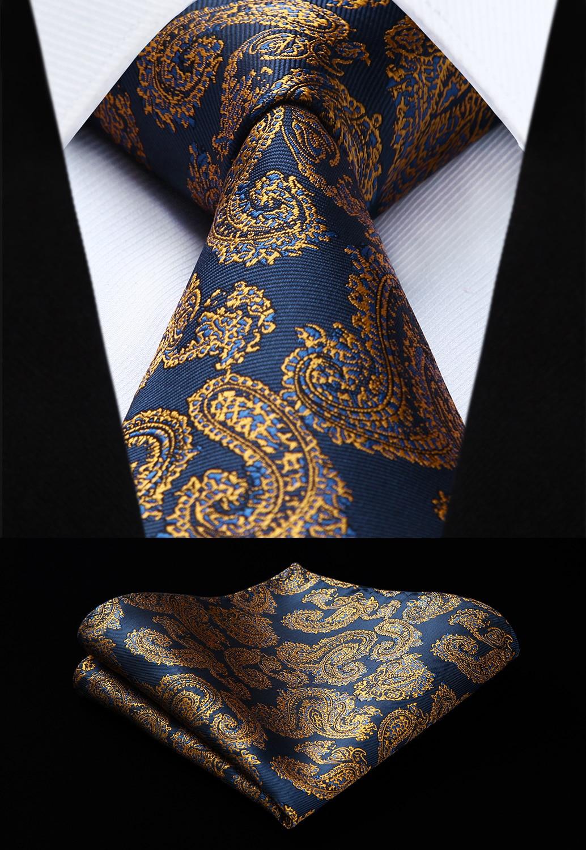 Party Wedding Classic Fashion Pocket Square Tie Woven Men Tie Navy Blue Yellow Paisley Necktie Handkerchief Set#TP834V8S