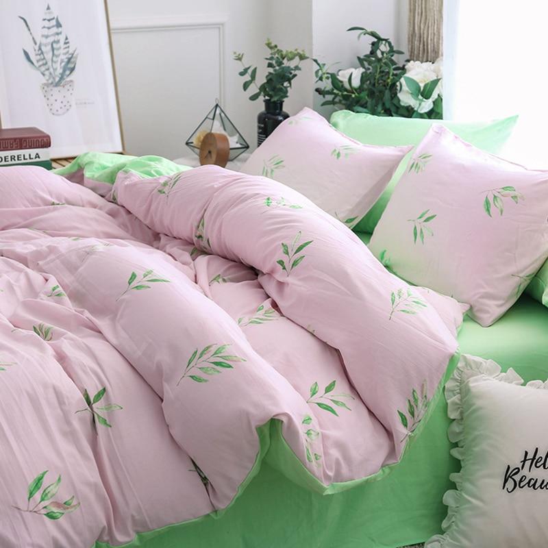 Solstice Home Textile Girl Teen Bedding Sets Light Pink Green Duvet Cover Pillowcase Bed Sheet Woman Adult Bedclothes King Queen