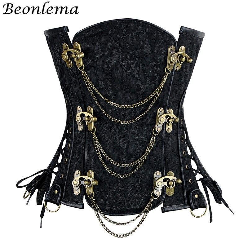 Beonlema Steampunk Korse Gotico Metal Buckles Chain   Corsets   and   Bustiers   Underbust Vintage Women   Corset   Waist Body Shaper