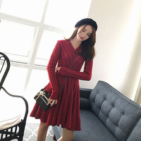 Big size women's fat mm winter clothing 2018 new skinny cover dress fat sister sweater knitted Bottom shirt