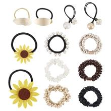 12 Pack Metal Sun Flower Pearl Hair Ties Scrunchies Satin Bobbie Scrunchy No Crease Elastic Band Ponytail Holder for Women