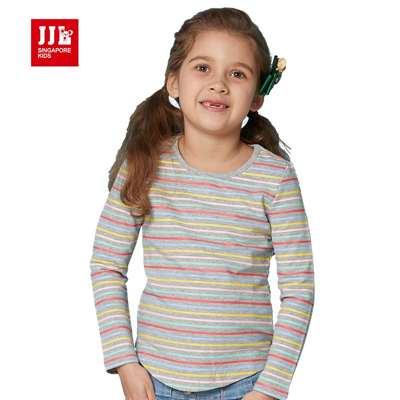 children girl print t shirt 2016 newest baby girls clothes spring striped kids clothes girls t shirt size 4-15y